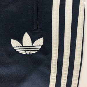 Adidas Track Pant Navy White Triple Stripe Trefoil